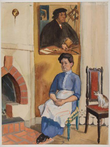 Arvid Fougstedt: Ingeborg Fougstedt, konstnärens mor, akvarell ca 1910