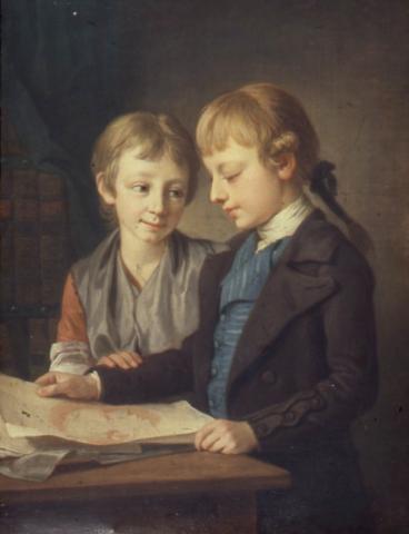 Pehr Krafft d.ä., Konstnärens barn Wilhelmina och Pehr, 1783. Receptionsstycke. ©Konstakademien, foto Sven Nilsson.