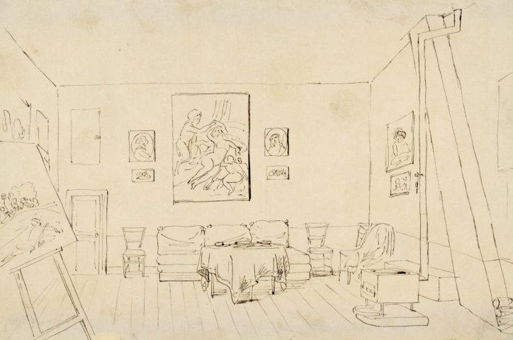 Nils Jakob Blommér. Konstnärens ateljé i Paris, teckning i brev 1849. ©Konstakademien, foto Thomas Wyreson