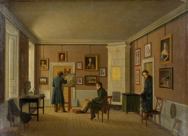Johan Gustaf Köhler. Konstnärens hem, ca 1840. ©Konstakademien