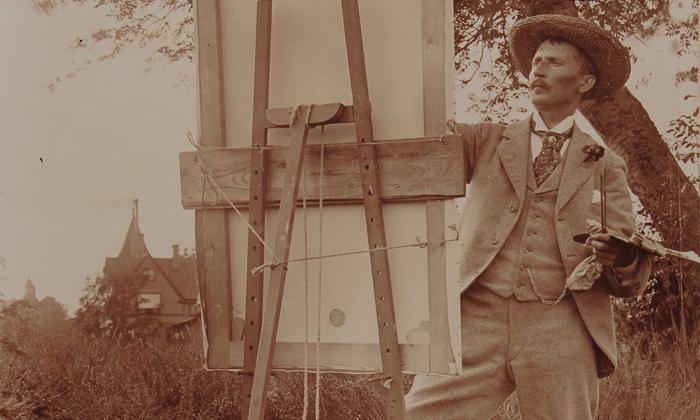 Okänd fotograf, möjligen Theodor Wåhlin. Per Ekström målar på Öland, ca 1890.