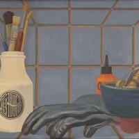 EF, Stilleben med gummihandskar, 1983