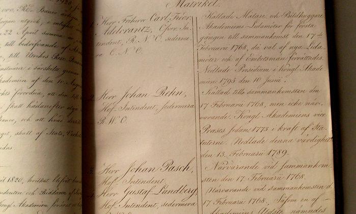 Konstakademiens ledamotsmatrikel från 1768. @Konstakademien, foto Thomas Wyreson.